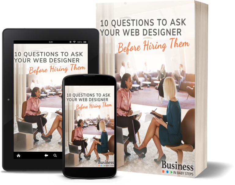 10 Questions to Ask Your Web Designer Before Hiring Them - Cover Image on book, tablet and phone